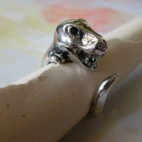 Shiny Silver Dino Ring sz 7-8