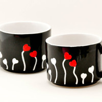 Valentines Day Hearts Coffee Mugs - Hand painted hot chocolate cups - set of two black mugs - Red, White, Black