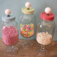 3 upcycled Wedding candy Buffet jars  FUN by MamaLisasCottage