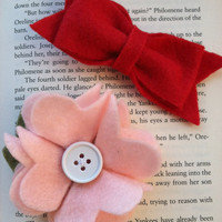 Valentines Set Includes one red felt hair bow by PosiesandPetals