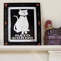White Cat Art Black and White Wall Art Mexican Framed by DexMex