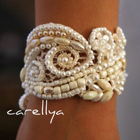 Beaded Pearls Bracelet  Vintage Lace Beaded Cuff -  Wedding Cuff Hand Embroidered  - DAFNA