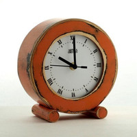 free shipping  CLOCK circle oldE orange by ArtmaStudio on Etsy