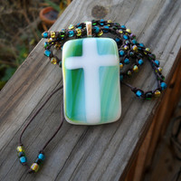 Artist Collaboration Glass Cross Pendant with by MegsCrochetJewels