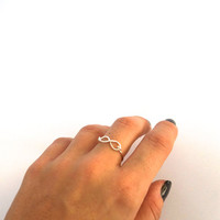 wire wrapped infinity ring - promise ring - together forever