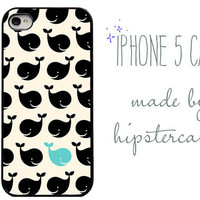 Iphone 5 Case. Blue Whale, Under the sea, Fish, Ocean, Blue and black, cute, aquatic, gifts for her, girly