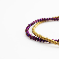 gold pyrite bracelet purple and gold thunder polished czech glass double strand bracelet 14k