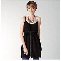 Fossil Silk Exposed Zipper Dress