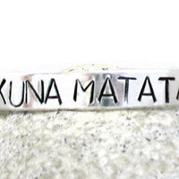 Lion King Inspired Bracelet - Hakuna Matata, Hand Stamped Aluminum Cuff