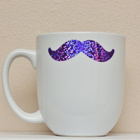 Mustache Sparkle Mug  White with Amethyst by TheBeautifulHome