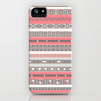 Aztec Print Peach Rose Salmon Grey iPhone Case by RexLambo | Society6