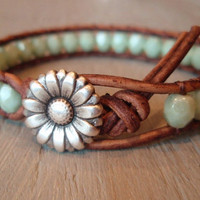 Boho leather wrap bracelet Country Girl Shabby chic by slashKnots