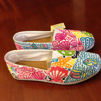 Lilly Pulitzer Inspired Handpainted Toms- Multi Pattern (you gotta regatta, sailors valentine, Chiquita Bonita )