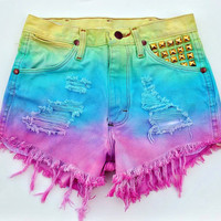 Made To Order Colorful Dip Dyed Gradient Studded Vintage Denim Shorts Choose your size