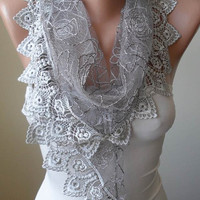 Valentine's Day - Gray Lace Scarf with Gray Trim Edge - Triangular - silvery
