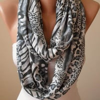 New - Valentine's Day - Gray Leopard - Soft Cotton Infinity Scarf