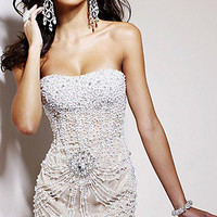 Prom Dresses, Celebrity Dresses, Sexy Evening Gowns at PromGirl: Beaded Short Strapless Dress