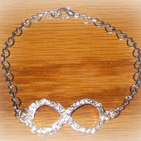 "W13 Infinity Symbol Infinate Love Rhinestone Paved Ice Heart Chain 8"" Bracelet"