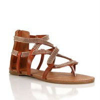 Chocolate Beaded Gladiator Sandals
