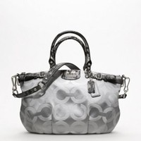 Amazon.com: Coach Madison OP Art Sateen Sophia Satchel Light Grey 18650: Clothing