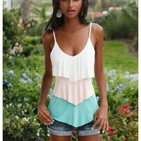 PASTEL TIERED V-NECK CAMI