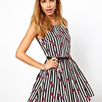 Glamorous Skater Dress in Striped Bow Print and Belt at asos.com