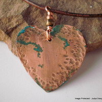 Patina heart Valentine necklace Patina Jewelry  by JudysDesigns