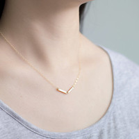 V geometric -gold filled bars arrow necklace - simple modern jewelry by AmiesAmies