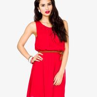 Pleated Georgette Dress w/ Belt