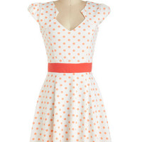 ModCloth Vintage Inspired Mid-length Cap Sleeves A-line The Story of Citrus Dress in Orange