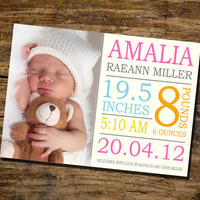 Amalia Baby Announcement / Birth by ThePaperCraftHouse on Etsy
