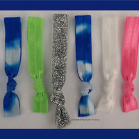 8 Elastic Hair Ties - Blue TIE DYE, NEON BEACH COLORS, No Dent, Emi Bella Jays