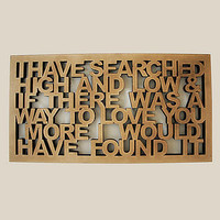 'i have searched?' wooden wall art by cut by fire | notonthehighstreet.com