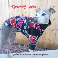 Groovy Love Valentines Day Warm Fleece Dog Sweater by hatz4brats
