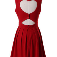 Heart Cut Out Pleated Dress in Red - Dress - Retro, Indie and Unique Fashion