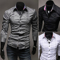 Designer Fashion Men Slim Fit Dress Shirt