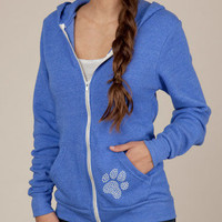 Studded Zip Up Hoodie Eco Friendly Women's Hooded by ShopRIC