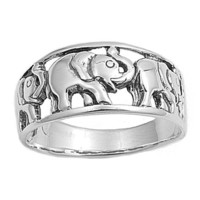 Sterling Silver Elephant Ring - size 6