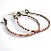 Copper Hoop Earrings Oxidized Hammered Hinged 1 by ConstantCraving