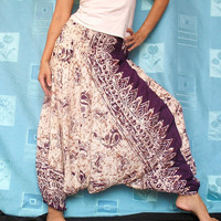 Batik Purple Hippie Harem Pants Boho Gypsy Yoga Fisherman Pants Jumpsuit Tube Top Playsuit
