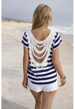 STRIPED CROCHET BACK TEE | Body Central