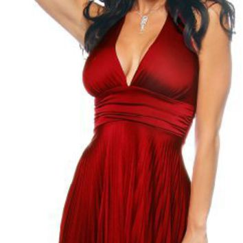 Red Marilyn Pleated Halter Sexy Party Cocktail Dress