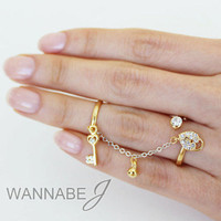 [wannabeJ] Versatile Adjustable Double Ring Chain Knuckle midi Ring [TR-005]