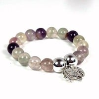 Single Bracelet Stack Purple Flourite Beads and Silver Elephant Charm