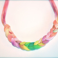 Pastel Ombre Fabric Necklace - Braided Recycled Statement Jewelry