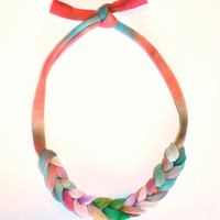 Rainbow Ombre Statement Necklace - Recycled Upcycled Fabric Jewelry