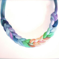 Recycled Ombre Fabric Necklace - Blue Peach Green Purple Rainbow