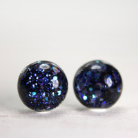 globe earrings in moonlight blue sparkles - 8mm - blue galaxy earrings glitter jewelry