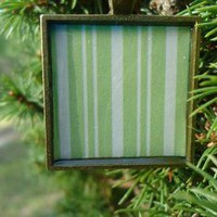 Green Stripes, White Stripes, Square pendant necklace