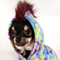 Dog Hoodie Purple Hearts w faux Fur punk Mohawk hood XS